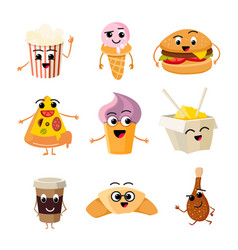 funny cartoon fast food set vector image