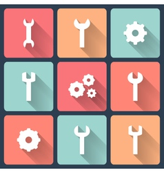 Gear and wrench flat icons set vector