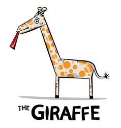 Giraffe Cartoon Funky Giraffe with Lick Ton vector image