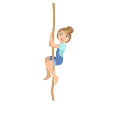 Girl Climbing A Rope As Physical Education Class vector