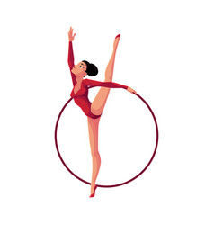 girl standing in vertical leg split rhythmic vector image