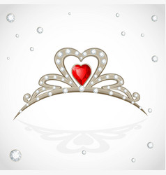 Golden tiara with diamonds and faceted red stone vector