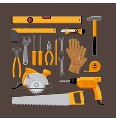 Hand tools icons in flat style vector image