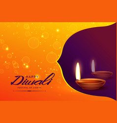 Happy diwali background with diya and sparkles vector