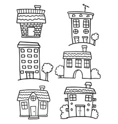 house set hand draw doodles vector image
