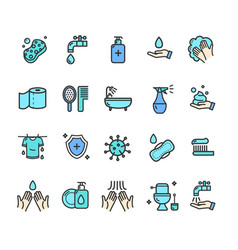 hygiene signs color thin line icon set vector image