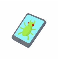 Infected smartphone icon cartoon style vector