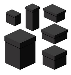 isometric black boxes of different sizes for vector image