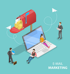 Isometric concept of e-mail marketing vector