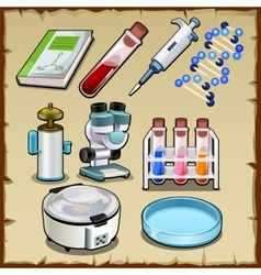 Items from science lab tube device and other vector