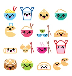 Kawaii Chinese take away food characters vector image
