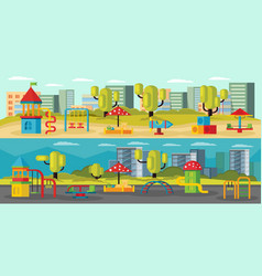 kids playground horizontal banners vector image