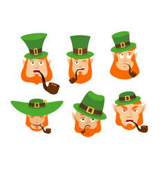 leprechaun emoji set happy and sad angry and vector image