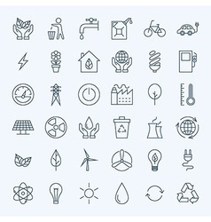 Line Green Energy Eco Icons Set vector image
