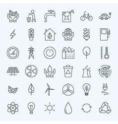 Line Green Energy Eco Icons Set vector