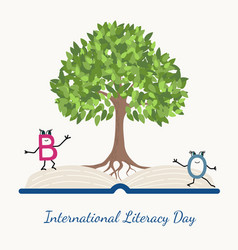 Literacy day concept tree book letter characters vector