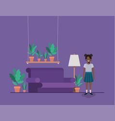 Little black girl in livingroom vector