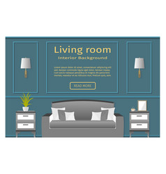living room design banner with furniture for your vector image vector image