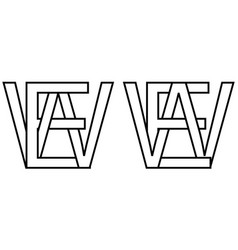 Logo sign ew we icon sign interlaced letters w e vector