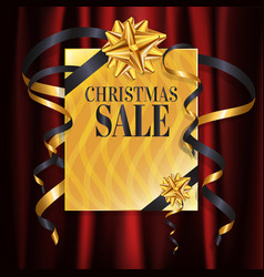 luxury gold christmas sale banner with gold gift vector image