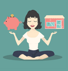 meditating concept with piggy bank and shop vector image