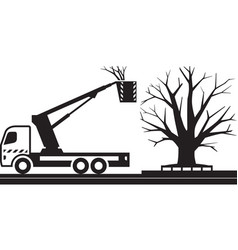 Mobile platform truck for cutting trees vector