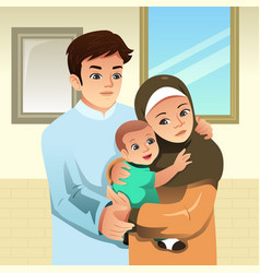 Muslim family at home vector