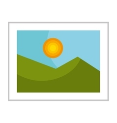 Nice landscape on picture isolated icon vector