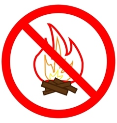 No fire sign in red ring vector image