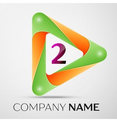 Number two logo symbol in the colorful triangle on vector
