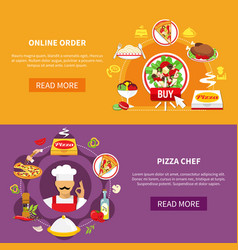 Order pizza banners set vector