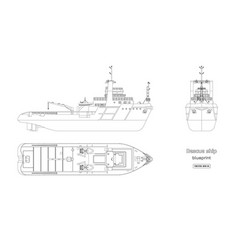 Outline blueprint rescue ship vector