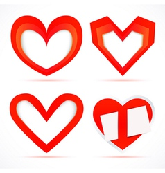 Paper sticker hearts vector image