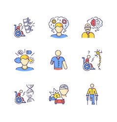 Patient with disability rgb color icons set vector