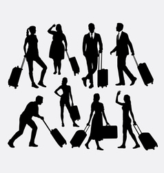 People male and female traveling silhouettes vector image