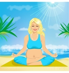Pregnant woman sitting in yoga pose vector