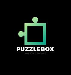 puzzle piece logo icon design simple puzle box vector image