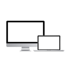 realistic modern computer monitor and laptop vector image