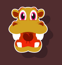 Realistic paper sticker on theme funny animal vector