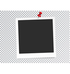Realistic photo frame with pin isolated vector