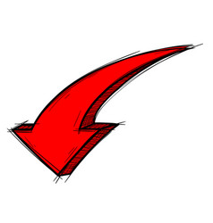 Red arrow down sign colored doodle vector