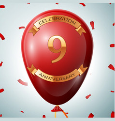 Red balloon with golden inscription nine years vector