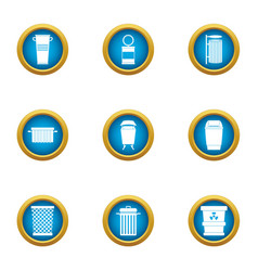 Reset icons set flat style vector