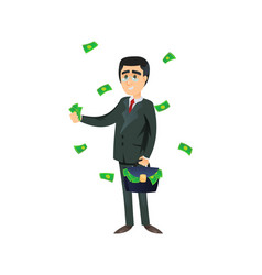 Rich entrepreneur throwing money away vector