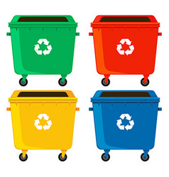 Rubbish containers in four colors vector image