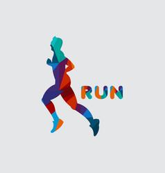 Run logo template design vector
