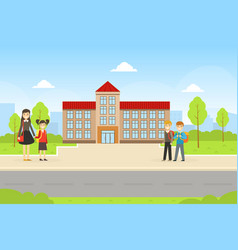 School building and front yard with cheerful vector