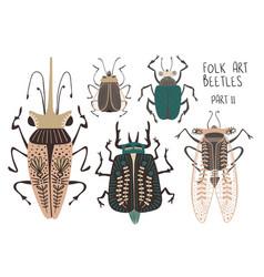 Set folk art decorated beetles vector