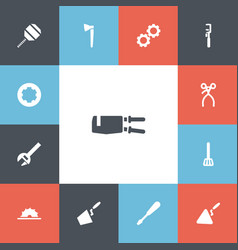 Set of 13 editable equipment icons includes vector