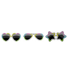 set of glasses with a frame of different shapes of vector image